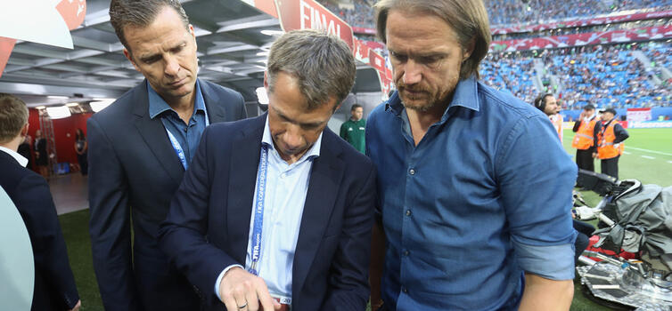 Clemens (centre) trialled new match analysis technology during the Confederations Cup