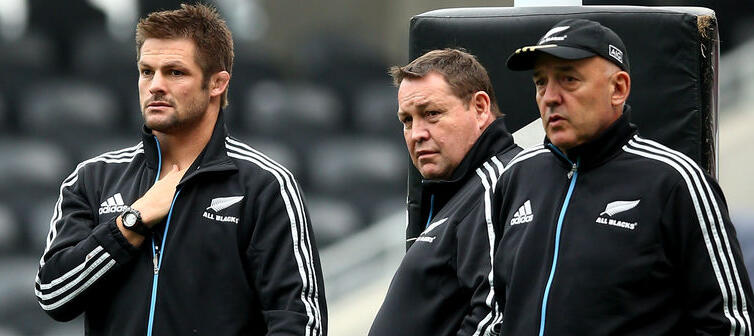 Richie McCaw, Steve Hansen and Gilbert Enoka
