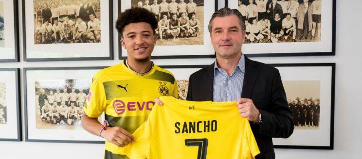 Dortmund handed Sancho the number 7 shirt vacated by Ousmane Dembele