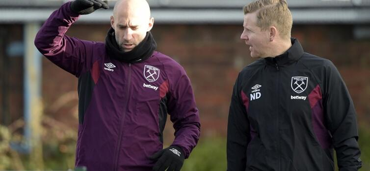 Davies (right) was previously with the Hammers from 2007 to 2009