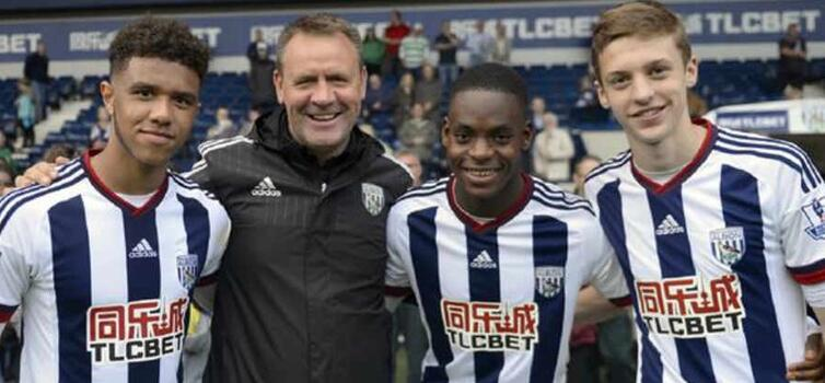 Tyler Roberts, Jonathan Leko and Sam Field with Head of Academy Recruitment Stephen Hopcroft