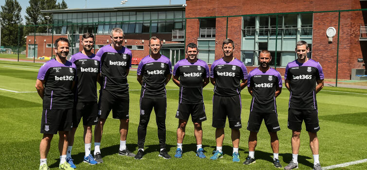 Left to right: Carolan, Carnall, Sale, Rowett, Davidson, Quy, Phillips and Delap