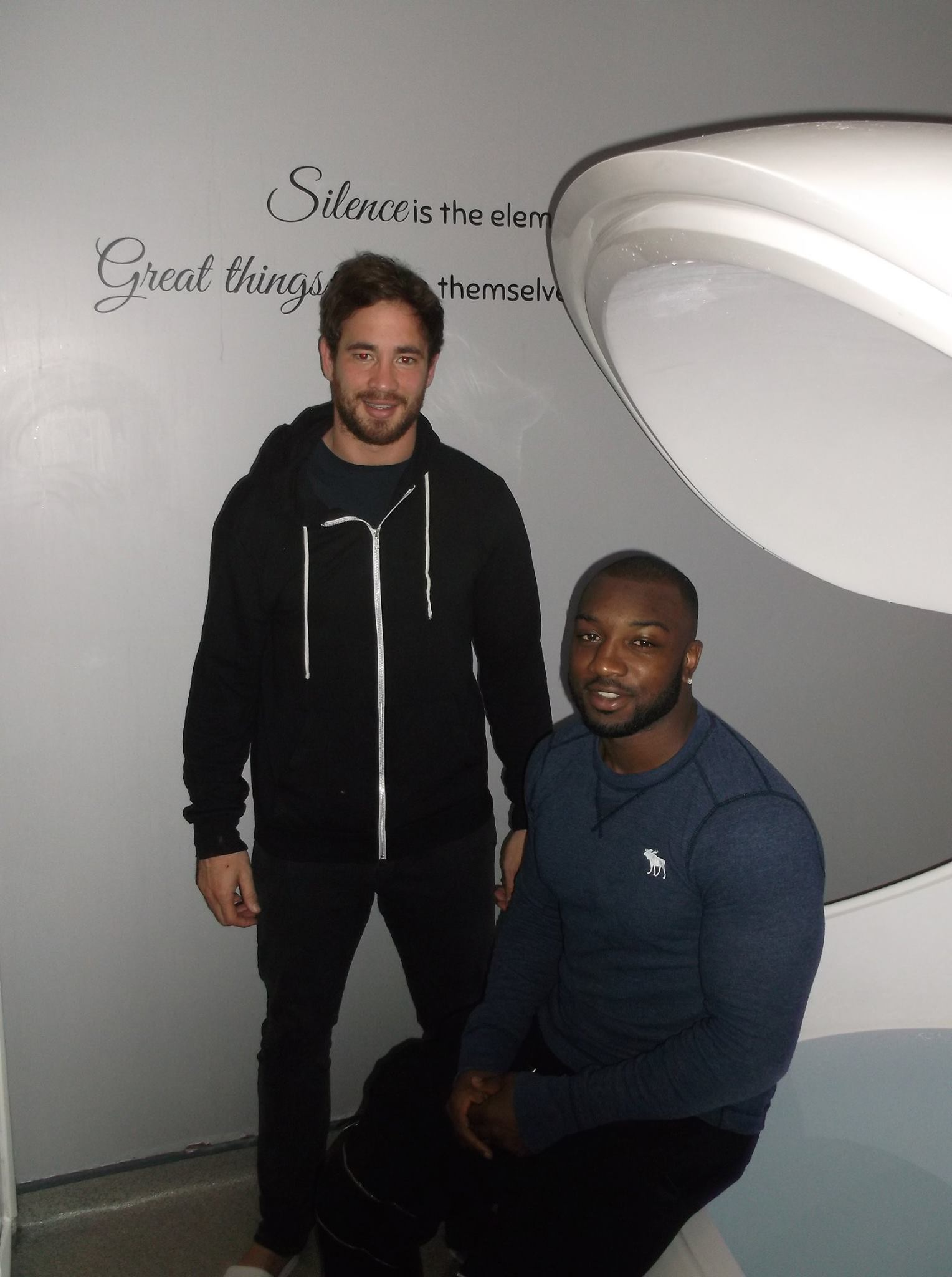 Sale players Danny Cipriani and Neville Edwards visited Float Level