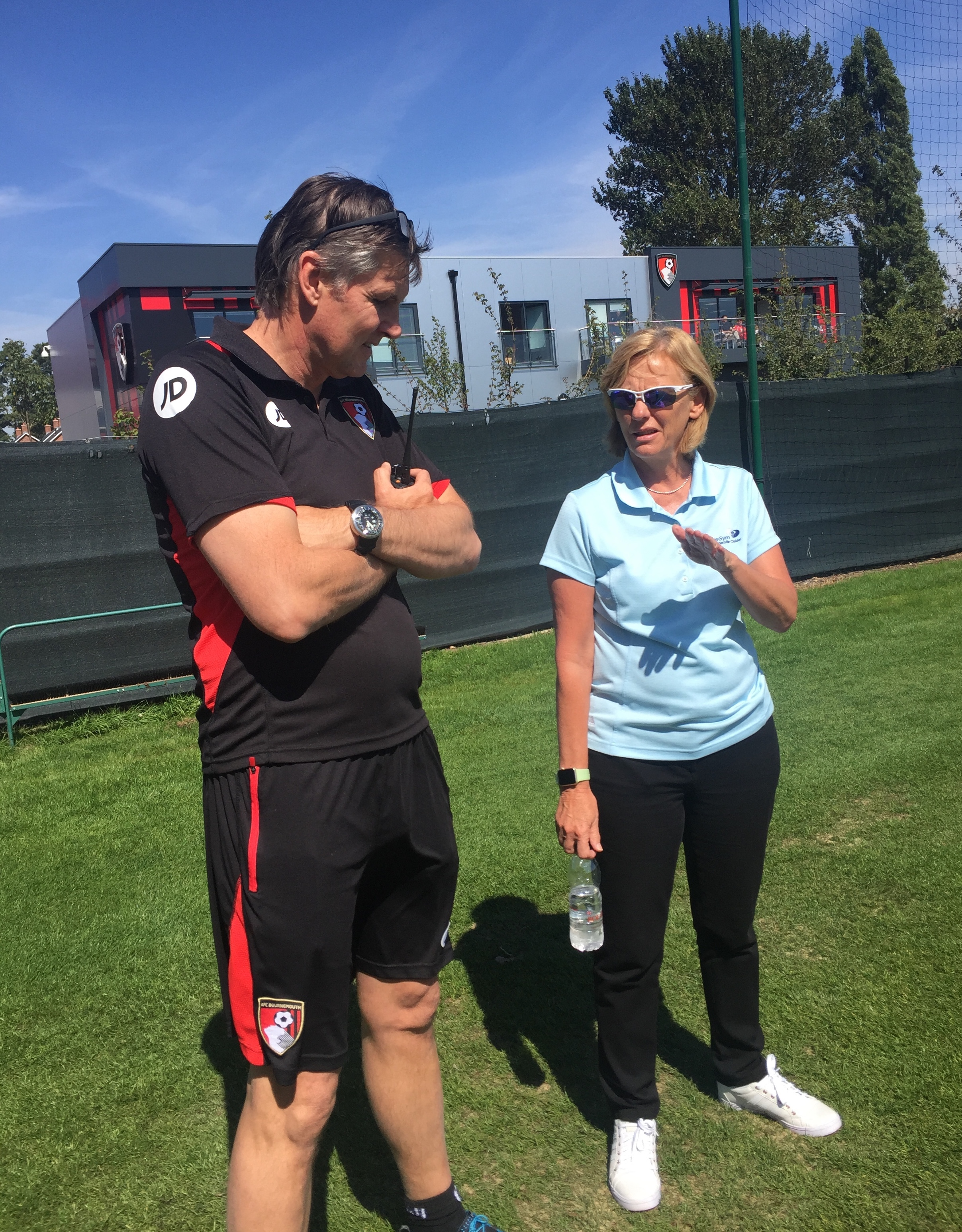 Roberts talks to Calder at Bournemouth's training centre last summer