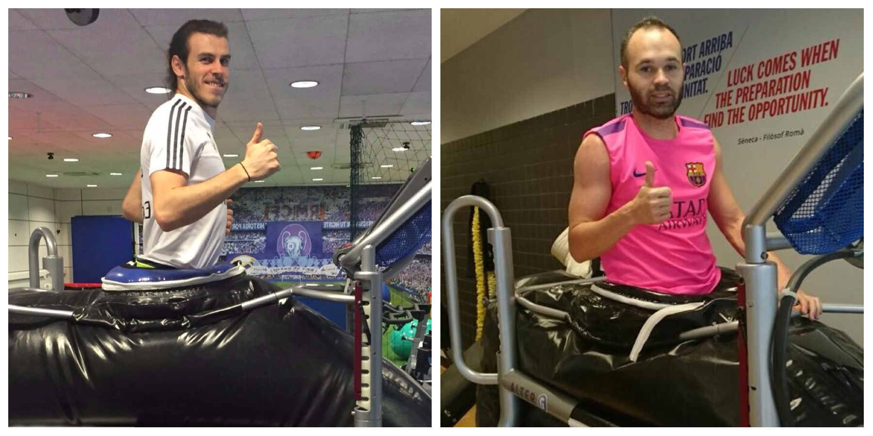 Gareth Bale and Andres Iniesta using Alter-G machines