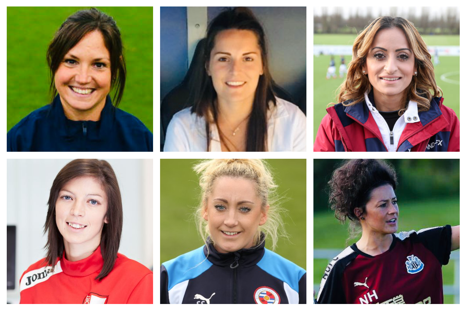 From top, left to right: <b>Claire Lynne Smith</b> (Stoke City U11 Head Coach), <b>Sarah Lowden</b> (Reading U12s), <b>Manisha Tailor MBE</b> (QPR Foundation Phase Lead), <b>Nia Davies</b> (Swansea Foundation Phase coach), <b>Shelley Strange</b> (Reading U11 Lead Coach), <b>Natalie Henderson</b> (Newcastle U12 coach)