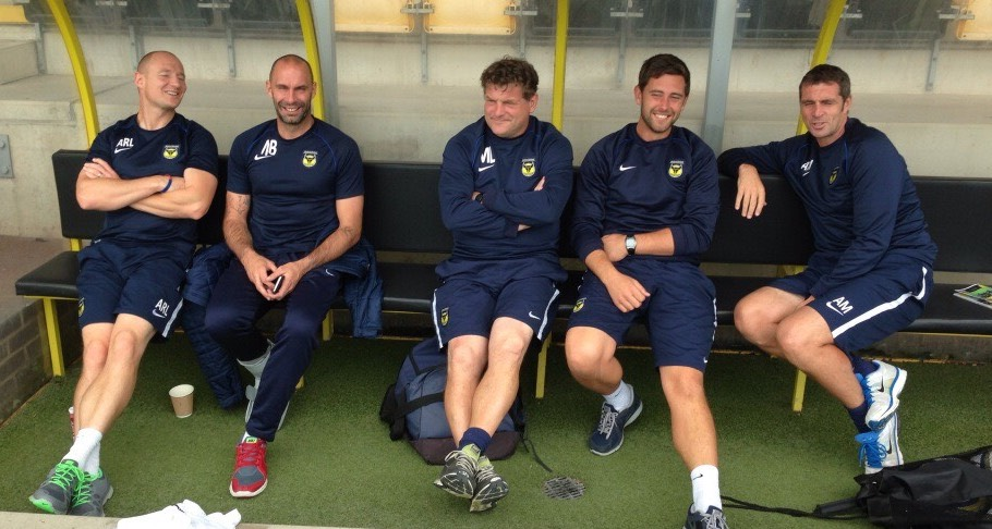 Buckingham (second from the right) spent 10 years at Oxford United