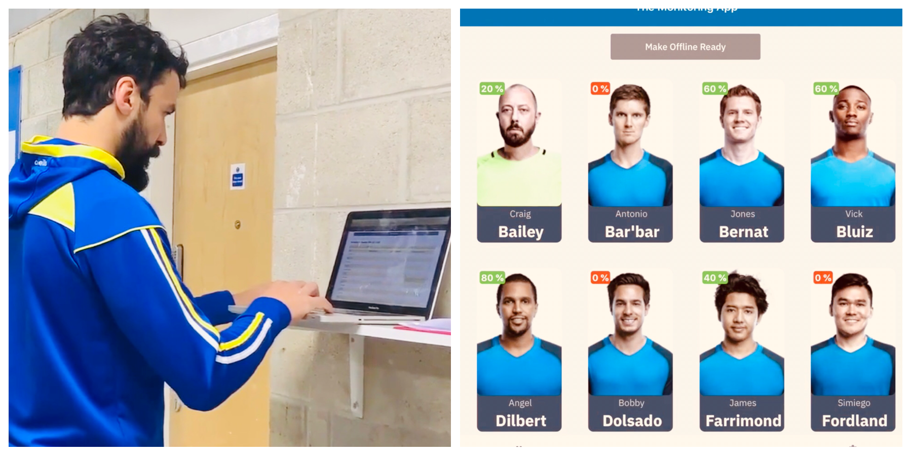 Left: Gardner analyses the monitoring results on The Rugby Squad. Right: An example of the team page.