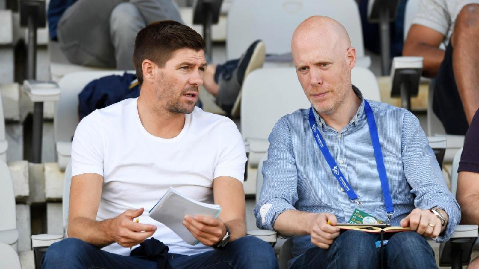 Broughton talking to Steven Gerrard during the Toulon U21 tournament this summer